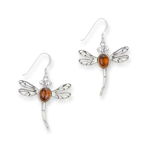 Outlander Inspired Scottish Dragonfly Drop Style Pair Of Earrings - Genuine Amber Stone